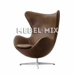 Кресло Egg из кожи, коричневое