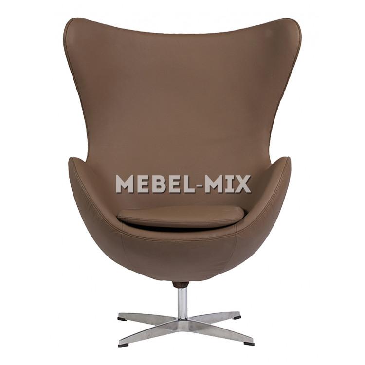 Кресло Egg из кожи, светло-коричневое