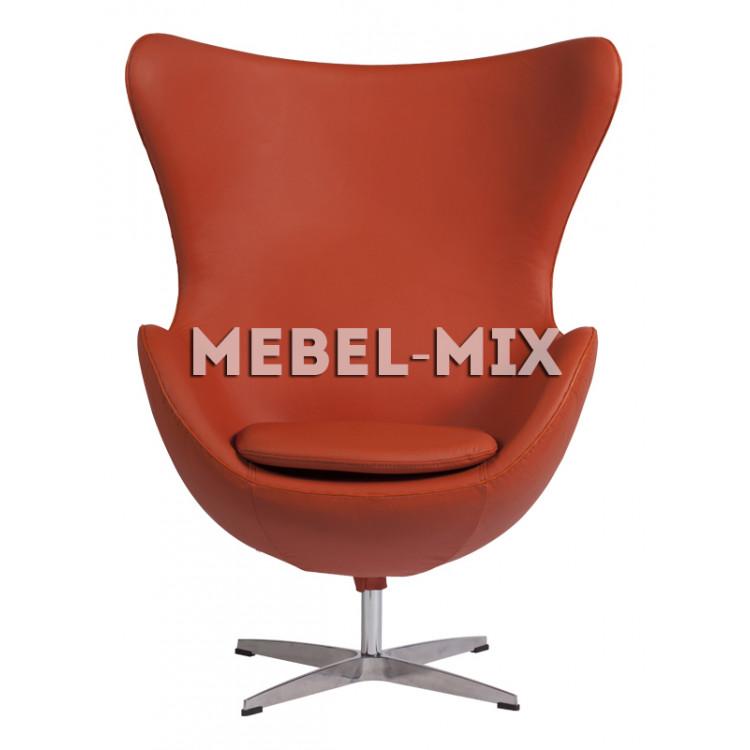 Кресло Egg из кожи, оранжевое