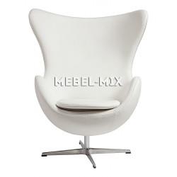Кресло Egg из кожи, белое