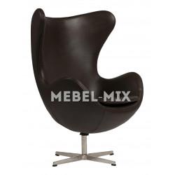 Кресло Egg из кожи, темно-коричневое