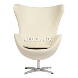 Кресло Egg из кожи, кремовое