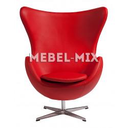Кресло Egg из кожи, красное