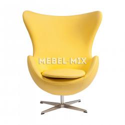 Кресло Egg из кожи, желтое