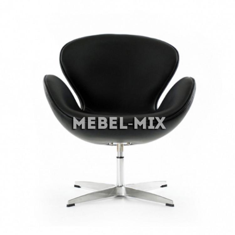 Кресло Swan из кожи, черное