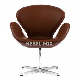 Кресло Swan из кожи, коричневое