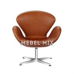 Кресло Swan из кожи, светло-коричневое