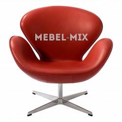 Кресло Swan из кожи, красное
