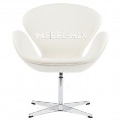 Кресло Swan из кожи, белое