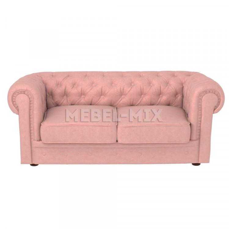 Двухместный диван Честер Chester, нежно-розовый