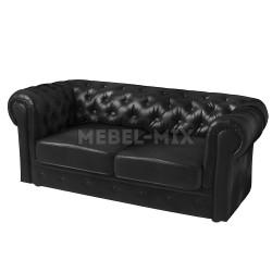 Двухместный диван Честер Chester из кожи, черный