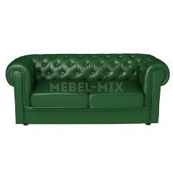Двухместный диван Честер Chester из кожи, зеленый