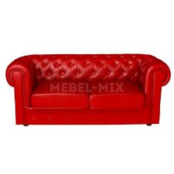 Двухместный диван Честер Chester из кожи, красный