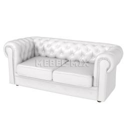 Двухместный диван Честер Chester из кожи, белый