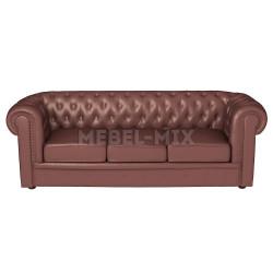 Трехместный диван Честер Chester из кожи, коричневый