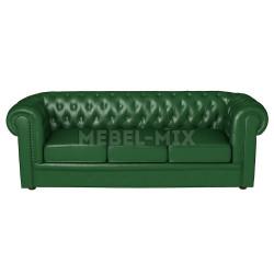 Трехместный диван Честер Chester из кожи, зеленый