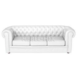 Трехместный диван Честер Chester из кожи, белый