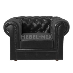 Кресло Честер Chester из кожи, черное