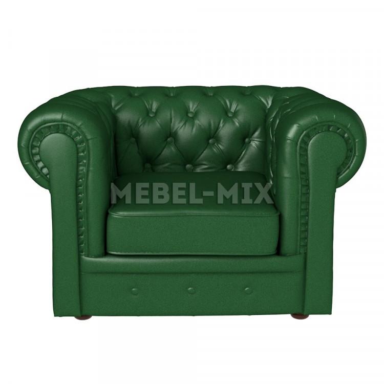 Кресло Честер Chester из кожи, зеленое