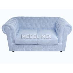 Двухместный диван Честер Chester из кашемир нежно-голубой