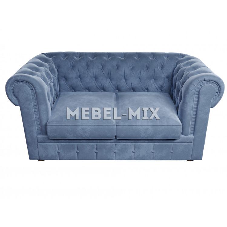 Двухместный диван Честер Chester, велютто сине-серый