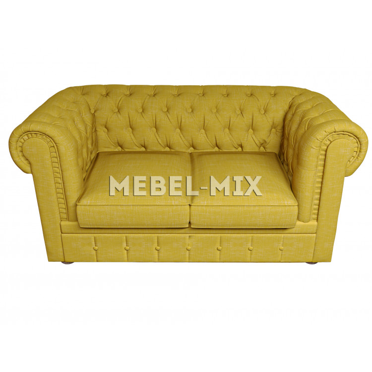 Двухместный диван Честер Chester, шинилл желтый