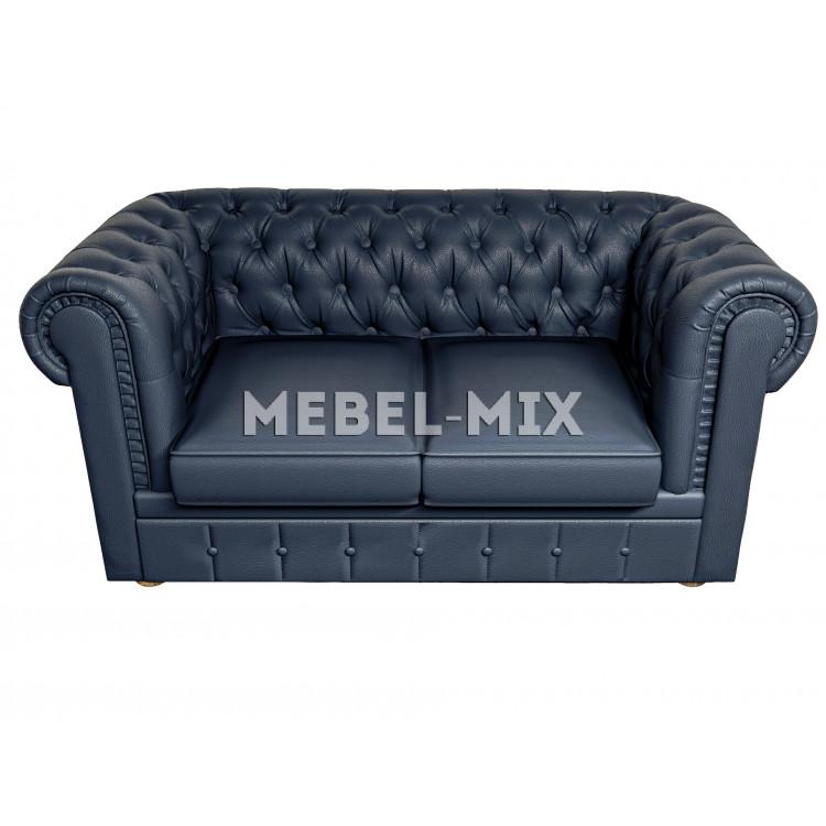 Двухместный диван Честер Chester из замши, темно-синий