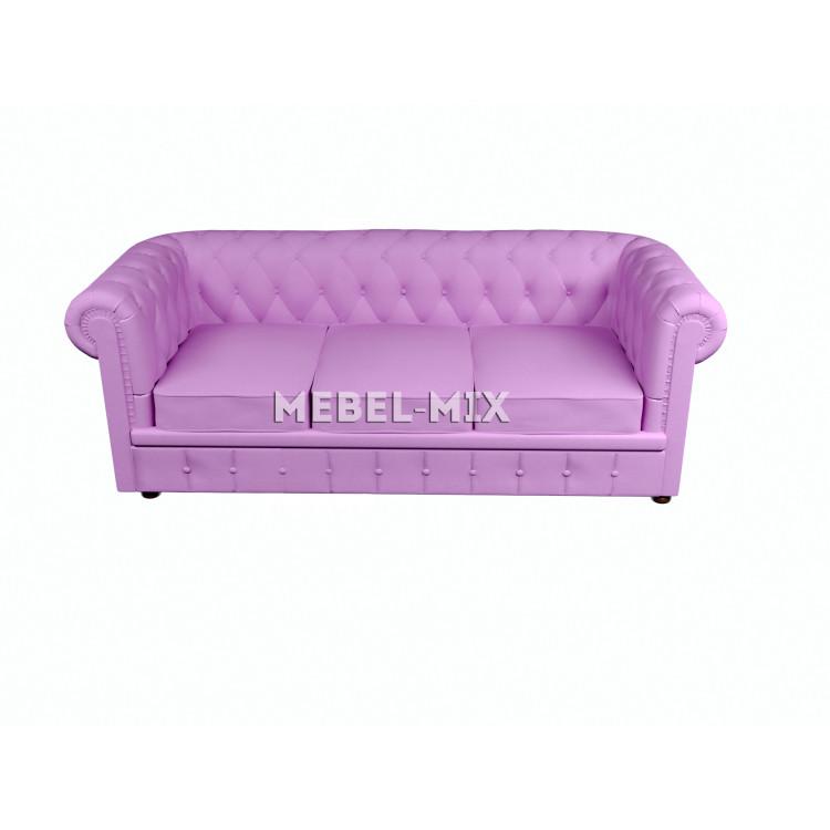 Трехместный диван Честер Chester, веллюто розовый