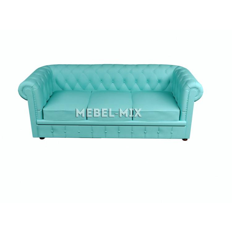 Трехместный диван Честер Chester, веллюто бирюзовый