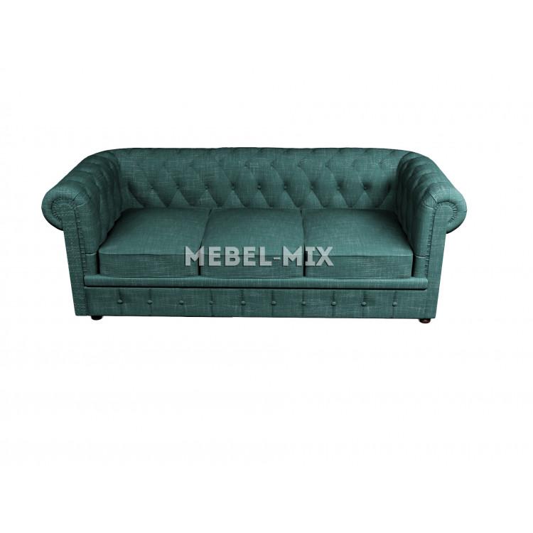 Трехместный диван Честер Chester, шинилл зеленый