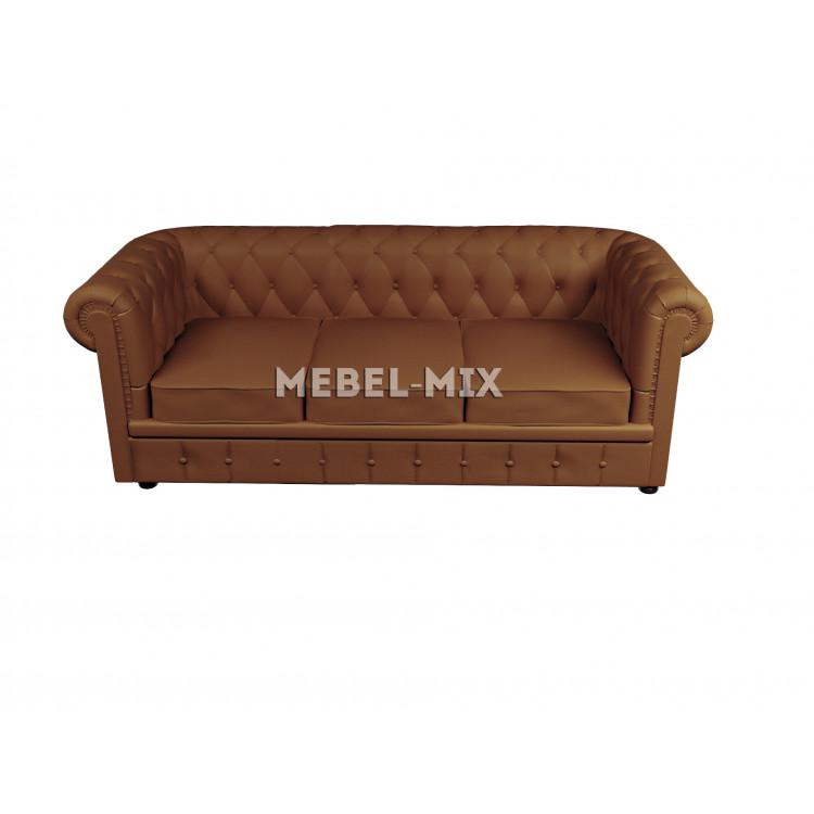 Трехместный диван Честер Chester из замши, бренди