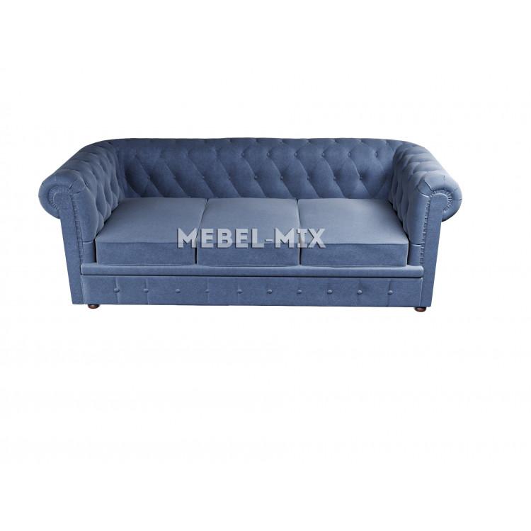Трехместный диван Честер Chester, велюр синий