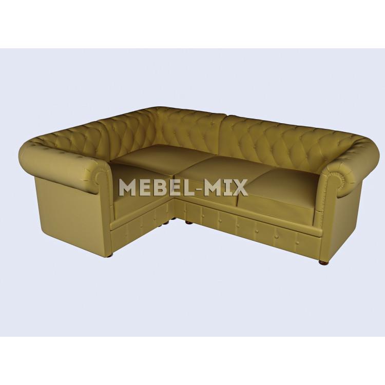 Четырехместный диван Chester микровелюр, горчичный