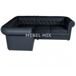 Четырехместный диван Chester из замши, темно-синий