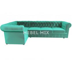 Пятиместный диван Chester микровелюр, бирюзовый