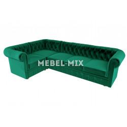 Пятиместный диван Chester микровелюр, зеленый