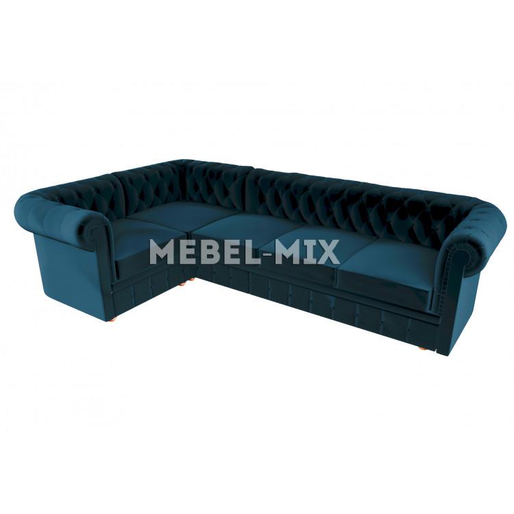 Пятиместный диван Chester микровелюр, синий