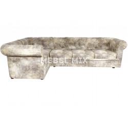 Пятиместный диван Chester из кожи, винтаж серый