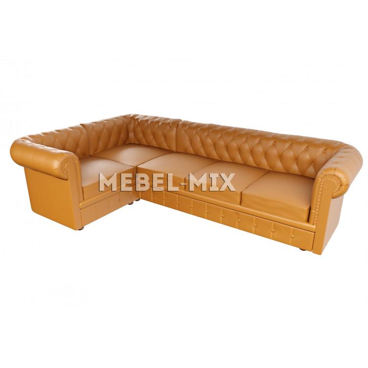 Пятиместный диван Chester из замши, бренди