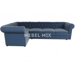 Пятиместный диван Chester велюр, серо-синий