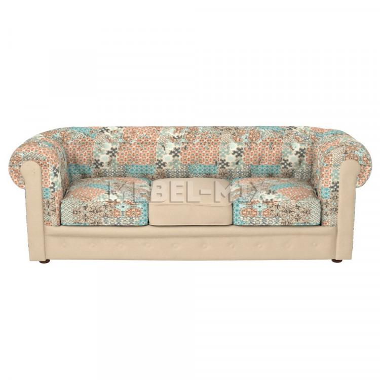 Трехместный диван Честер Chester в стиле пэчворк