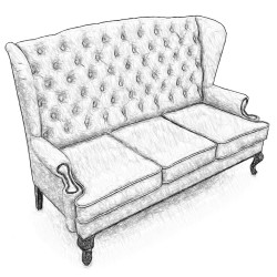 Английский диван с ушами, в любой ткани 166 см.