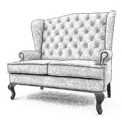 Английский диван с ушами в коже, любой ткани136 см.