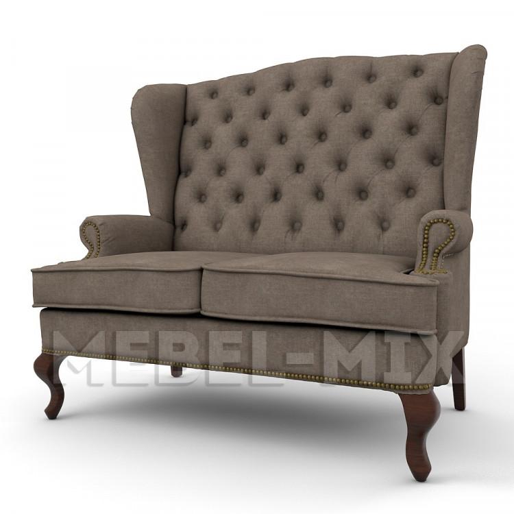 Каминный диван с ушами, мокрый асфальт 166 см.