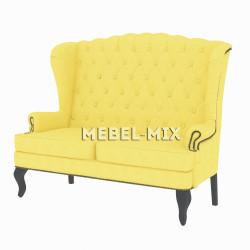 Каминный диван с ушами, желтый 151 см.