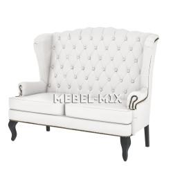 Английский диван с ушами в коже, белый 136 см.