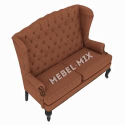 Каминный диван с ушами, коричневый 151 см.