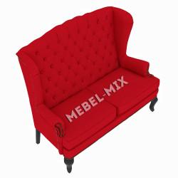 Каминный диван с ушами, красный 151 см.