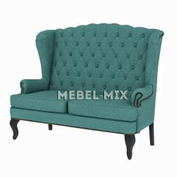 Каминный диван с ушами, сине-зеленый 166 см.