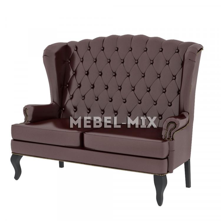 Английский диван с ушами в коже, коричневый 136 см.